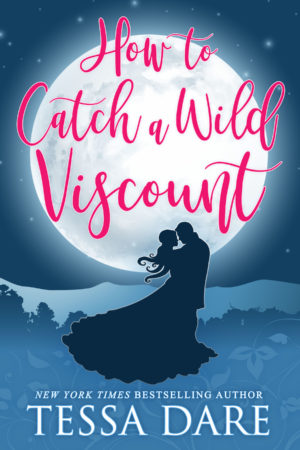 An illustrated cover with a silhouetted Regency couple embracing in a dark-blue background, lit up by a large full moon. The book title is in loopy pink script.