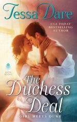 The cover of The Duchess Deal--A tall, handsome man and a lady in a wedding dress embrace in glowing light from a nearby window