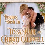 A blonde Regency lady in a white, lacy dress kisses a sexy man with dark hair and a nice set of abs.