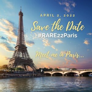 Image: The Eiffel tower, set against a blue sky. Text reads April 2, 2022. Save the Date. Rare 22 Paris.